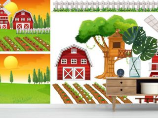 Farm element set isolated with farm scence
