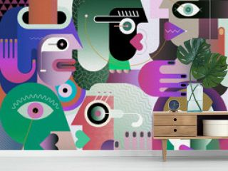 Large Group of Diverse People Large group of various people abstract modern art graphic illustration. Portrait of six strange adult persons.