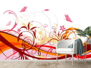 Grunge paint flower background with butterfly, vector