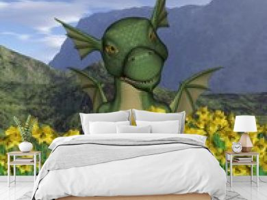 St David's Day - baby dragon and daffodils