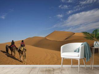 carovana con cammello nel deserto del sahara in morocco