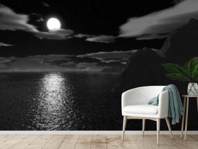 halloween moonnight on sea
