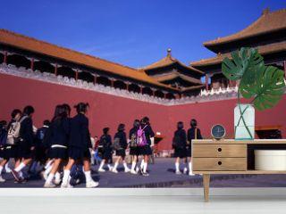 schoolgirls visiting the forbidden city beijing