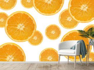 Fallende Orangenscheiben