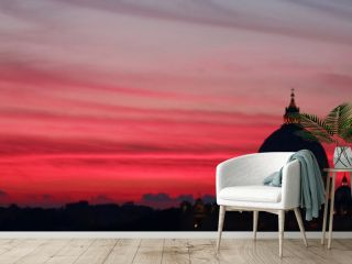 Pink sunset in Rome Italy