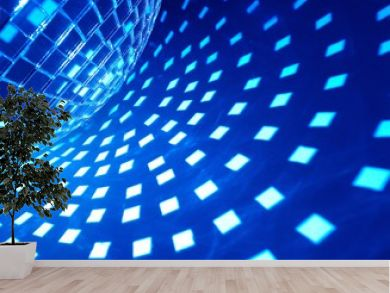 Disco ball with blue illumination
