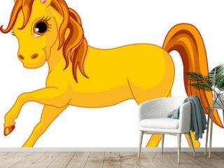 Vector Illustration of walking beautiful yellow horse