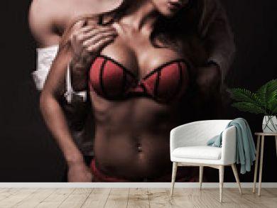 Attractive sexy couple in dark room