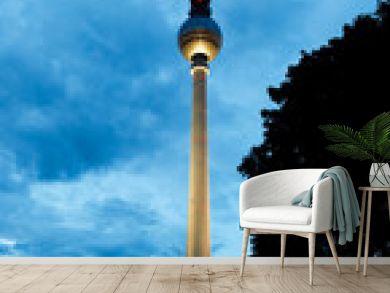 Berlin tv tower -  fernsehturm at night