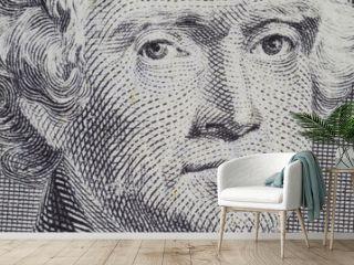 Thomas Jefferson closeup on the two dollar note
