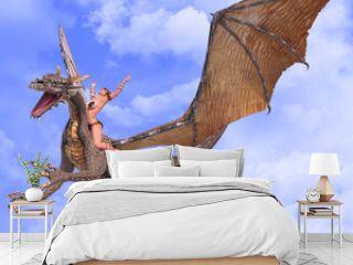 lady dragon hands up blue sky