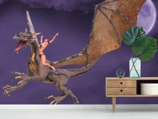 lady dragon hands up fantasy sky