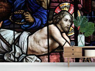La passion du Christ dans vitrail de l'église Santa Teresa à La Havane