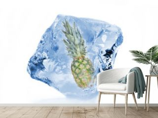 Pine-apple frozen in ice cube, isolated on white background