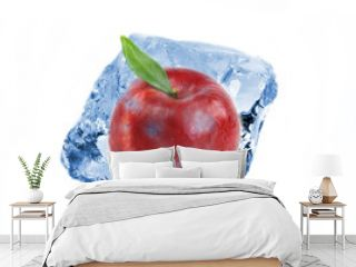 Red apple frozen in ice cube