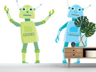two cartoon robot