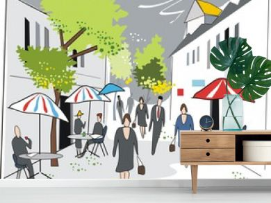 French cafe illustration
