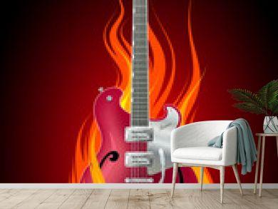 Rock guitar in flames