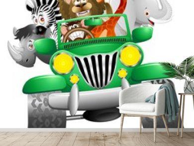 Geep con Animali Selvaggi Cartoon-Savannah Wild Animals On Jeep