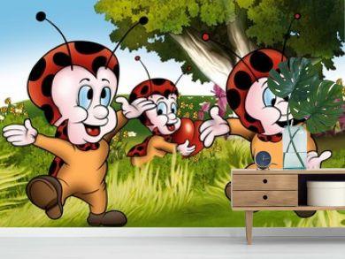 Happy Ladybugs - Cartoon Illustration