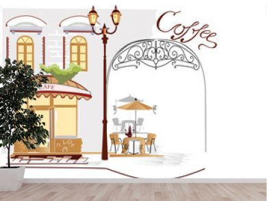 Series of street cafe