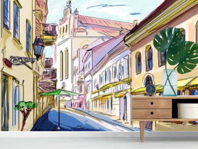 old town - illustration