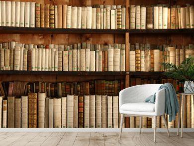 Bücherregal mit uralten Büchern