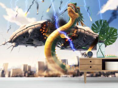 地球侵略に来た宇宙人の母船を真っ二つにする龍
