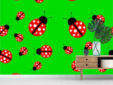 Seamless background with a ladybug