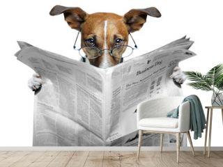 dog reading a newspaper