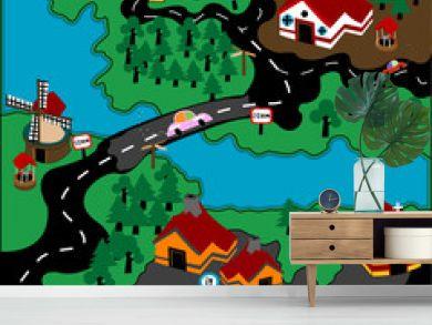 Modern village illustration with automobiles