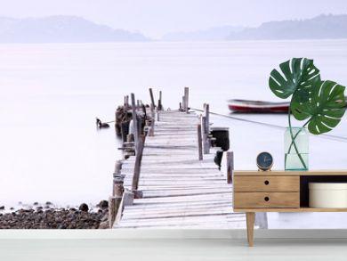 Jetty sunset along a wooden pier