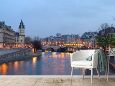 Paris - view from Pont Neuf bridge at night