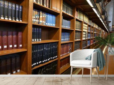 Bibliothek, Bücherregal mit Lexika in New York Library