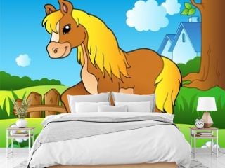 Cartoon horse on spring meadow