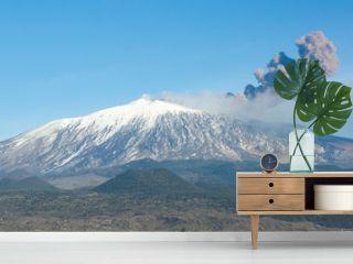 Volcano Etna And Column Of Smoke