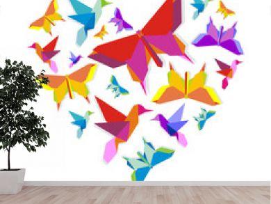 Spring Origami bird love