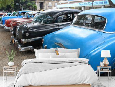 Vintage Cars Parked in a street of Havana, Cuba