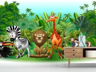 Animali Selvaggi Cartoon Giungla-Wild Animals Background-Vector
