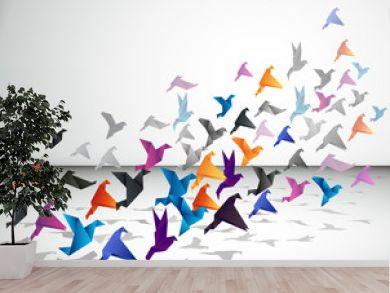 Indoor flight, Origami Birds start to fly in closed space.