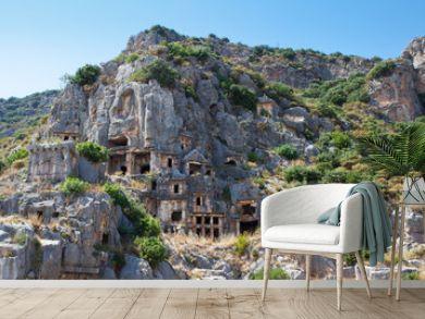Panorama - Rock tombs in Myra, Demre, Turkey