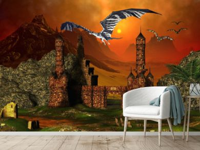 Fantasy Scene With A Castle And Dragons