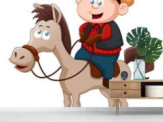 Little Cowboy riding horse vector