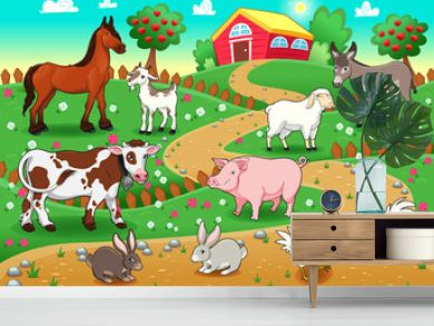 Farm animals with background. Vector illustration