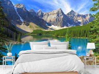 Vivid hues of Lake Moraine at Banff National Park, Canada