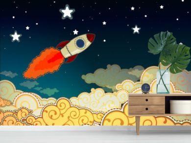 Cartoon rocket flying to the stars