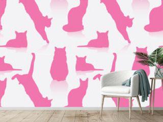Seamless cat pattern - vector illustration