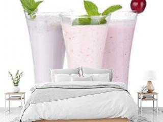 Blackberry, raspberry and cherry milk smoothie with mint