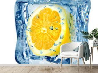 Ice cube and lemon