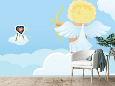 Funny cupid's shooting range Valentine's Day illustration